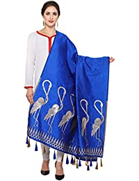 Fabkaz Women's Art Silk And Zari Work Dupattas (Blue)