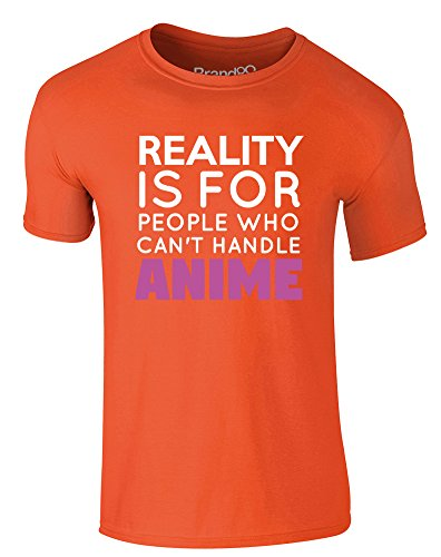 Brand88 - People Who Can't Handle Anime, Erwachsene Gedrucktes T-Shirt Orange/Weiß