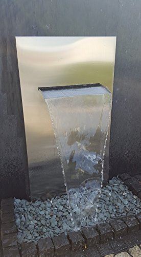 garten-wohnambiente Wasserwand Edelstahl mit Wasserauflauf 75 cm 175/90/30 cm Edelstahlwand Komplettset