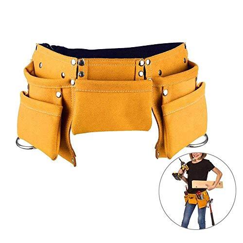 AOLVO Kinder-Werkzeuggürtel, Leder, Arbeits-Werkzeuggürtel, verstellbar, Kinder-Zimmermanns-Werkzeugtasche, Schürze für Jugend-Kostüme, Kostüme zum Verkleiden und Bauen gelb (Jungen Uk Kostüme)