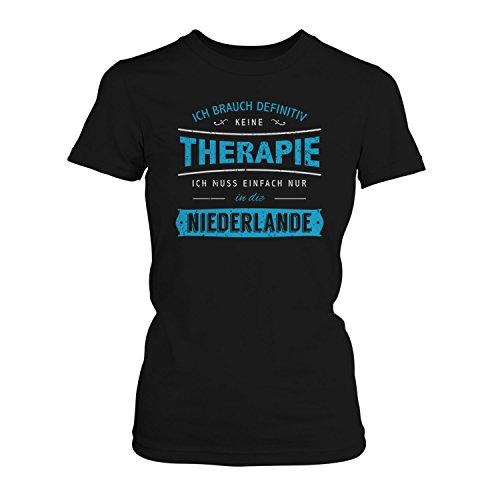 Fashionalarm Damen T-Shirt - Ich brauch keine Therapie - Niederlande | Fun Shirt mit Spruch Holland Urlaub Städetrip Amsterdam Den Haag Rotterdam, Farbe:schwarz;Größe:L