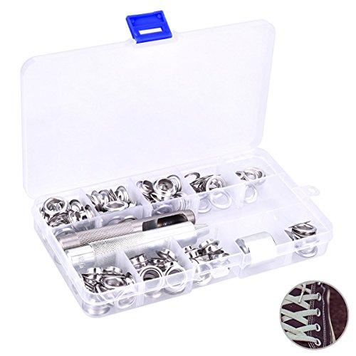 Preisvergleich Produktbild YoungRich 100 Stück Grommet Kit mit Lochstanze Matched Dorn Aufbewahrungsbox Premium Kupfer Rostfrei Ösen Unterlegscheiben Kit mit Innendurchmesser 10mm Silber