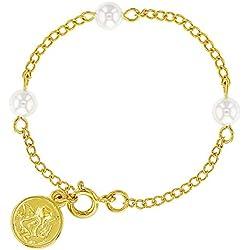 Ange gardien Argent sterling 925Charm fausses perles Bracelet pour bébés 12,7cm