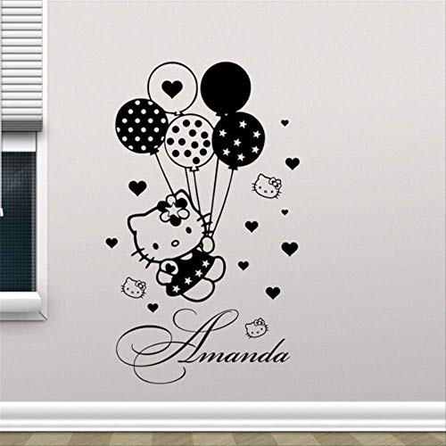 l Decal Balloons Girl Custom Name Cartoons Vinyl Sticker Baby Girl Boy Customized Pets Animals Wall Sticker ()