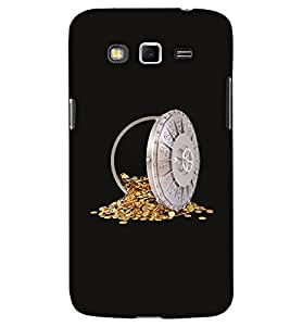 PrintHaat Hard Polycarbonate Designer Back Case Cover for Samsung Galaxy Mega 5.8 I9150 :: Samsung Galaxy Mega Duos I9152 (a safe of gold coins :: I love gold :: gold coins :: gold in safe :: in silver, gold and black)