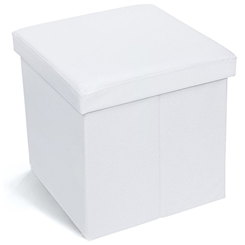 Tatkraft Blanc Pouf Cubo Poggiapiedi Sgabello Pieghevole con Coperchio - Ottoman Contenitore Pieghevole Bianco