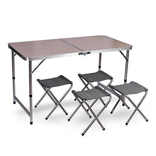 WUBOX Campingtisch Klapptisch Set - Gartentisch klappbar und 4 Campingstühle Faltbar - Koffertisch...