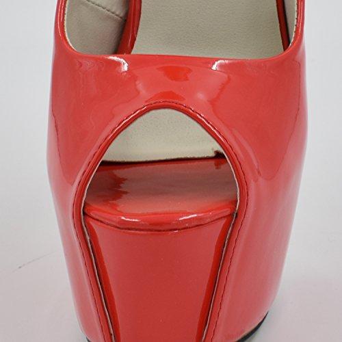 Oasap Femme Chaussure Escarpin Sexy A Talons Hauts Talons Aiguilles A Enfiler Bout Ouvert Rouge