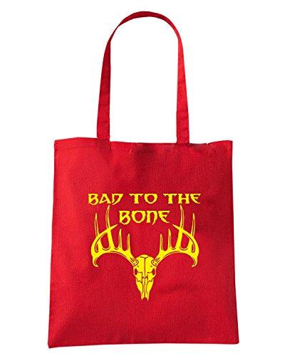T-Shirtshock - Borsa Shopping FUN0681 bad to the bone vinyl hunting car decal 04583 Rosso