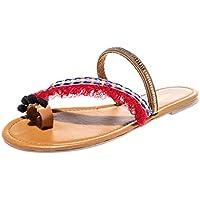 BIBOKAOKE Mujer Sandals Beach Shoes Zapatillas Chancletas Estilo Nacional Peep Toe Comodas Verano Sandalias Playa