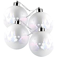 Lunartec LED Weihnachtskugeln: Christbaumkugeln mit Farbwechsel-LEDs, Ø 8cm, 4er-Set (LED Weihnachtskugeln kabellos)