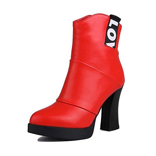AllhqFashion Damen Hoher Absatz Rein Spitz Zehe Blend-Materialien Reißverschluss Stiefel,Rot,36