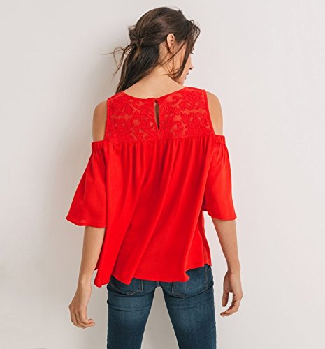 Promod Bluse mit Schulter-Cut-Outs Rot