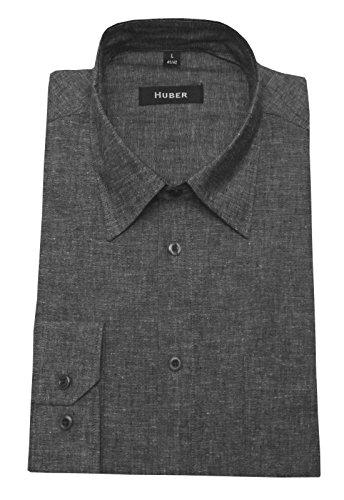 Leinen Hemd grau meliert feines Halbleinen HUBER 0422 bequeme Passform S bis 5XL Grau