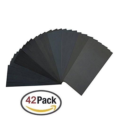 GeMoor Schleifpapier Set 42 Stück 120 bis 3000 Körnung Schleifpapier Sortiment Trocken/Nass für Automobilschleifen Holzbearbeitung und Holzdrehen, 9 x 3.6 Zoll
