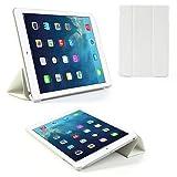 tedim® - Housse pour iPad Air (ultrafine, parte trasera de caoutchouc, avec support, fermeture magnétique, avec Protection d'écran) Blanc Blanc