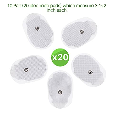 Plaquettes Electrode Tens Electrodes Pads Machine Remplacement Electrode Pads Snap 3.5mm Connector Tens Electrodes Patchs pour Tens Digital Therapy Machine Massager 3.1 * 2 pouces 10 Pairs (20
