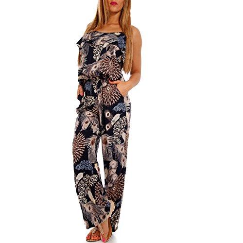 Damen Jumpsuit Stylisches Strand Overall - Frühling und Sommer- Jumper mit Pfau-Druck, Farbe:Marine, Größe:XL/XXL (Herstellerempfehlung 40/42)