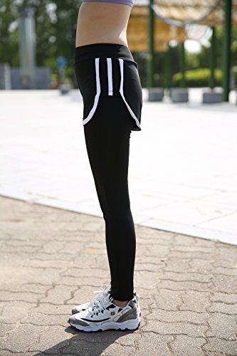 Donne Forma fisica Nero e Grigio Cucitura Pantaloni Yoga Gli sport Casuale In esecuzione Palestra Nero e Bianca