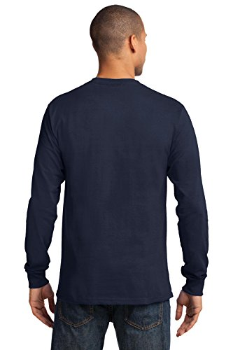 Port & Company Herren Port & Company Long Sleeve Essential T-Shirt Dunkles Marineblau