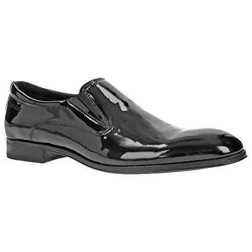 Zweigut® -Hamburg- piekfein #103 Herren Lack Schuhe Hochzeit Leder Slipper Business Smoking, Schuhgröße:44, Farbe:lackschwarz