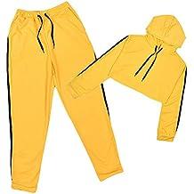 Mujer 2 Piezas Chándal - Manga Larga Cordón Crop Sudadera con Capucha y Pantalones a Rayas Moda Casual Conjuntos Deportivos Amarillo S-XL
