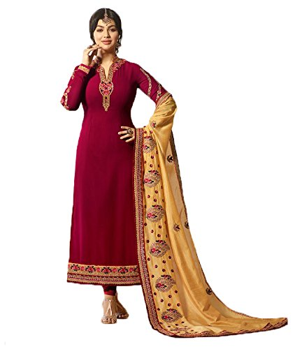 Jesti Designer Women's Faux Georgette Dark Green Embroidery Gown Latest Party Wear...