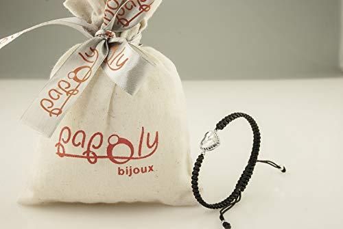 Imagen de papoly® pulseras de macramé con detalle de plata de plata de ley 925 y cristale swarovski®, bolsa de regalo, se ajusta fácilmente.heart crystal  alternativa