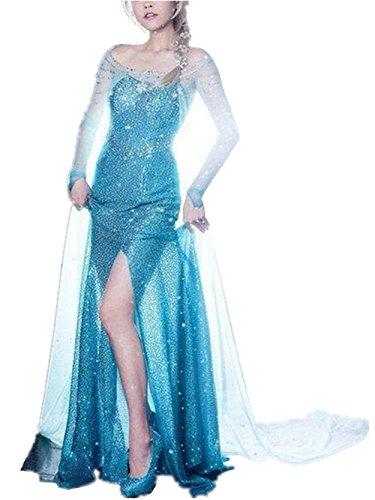 Beunique® Damen Elegante Prinzessin Kleid mit warmer Stola Pailletten-Kleid Kostüm Cosplay Kleider (Belle Kostüm Teenager)