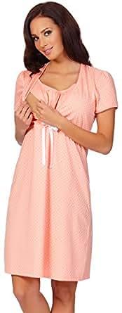 Italian Fashion IF Damen Umstandskleidung Stillnachthemd Joy 0114 (Aprikose, S)