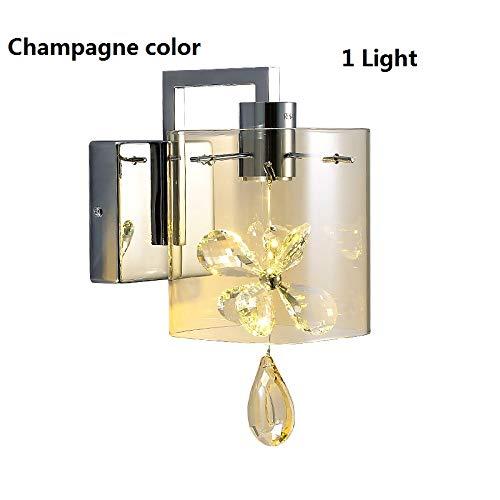 HNZZN Moderne schmetterling kristall led wandleuchten glasschirm wandleuchte schlafzimmer bett lampe wohnzimmer iluminacion led 110 240 v, champagner glas, 2 lichter