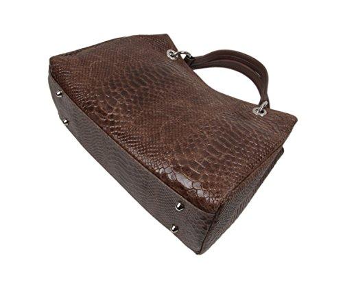 """Slingbag """"Clara Borsa/Borsa a spalla in vera pelle in pelle di serpente da/Colori assortiti, nero (nero) - 4251042503905 marrone"""