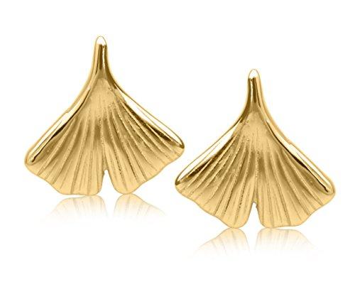 MyGold Ginkgo Ohrstecker Stecker Ohrringe Gelbgold 585 Gold (14 Karat) Massiv 11mm x 11mm Ginkgoblatt Baum Goldohrringe Goldstecker Damenohrringe Damenohrstecker Geschenke Für Frauen Ginko V0007342