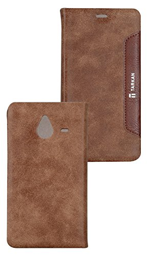 Tarkan Authentic Smart PU Leather Magnetic Flip Case Cover with Convertible Back Stand For Microsoft Lumia 640XL – Brown