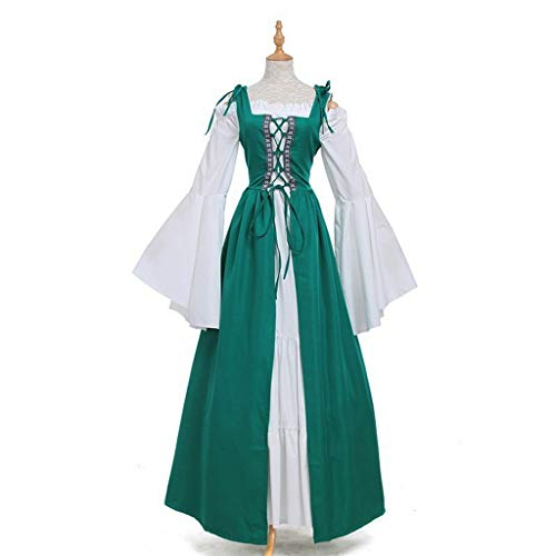 chenpaif Womens Long Flare Ärmel Renaissance Mittelalterlich Irish Over Dress Creme Chemise Set Rüschen Schnüren Kordelzug Cosplay Kostüm Deep Green - Chemise Renaissance Kostüm