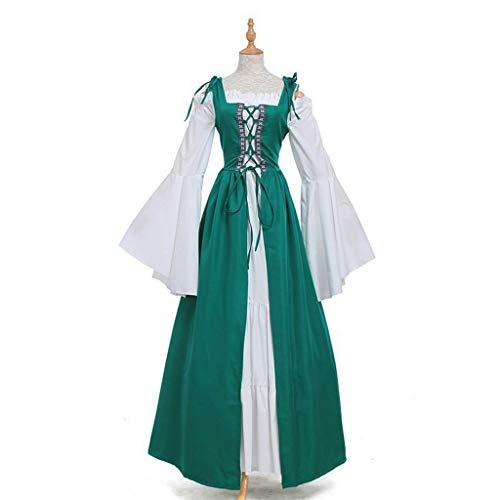 Kostüm Green Renaissance - chenpaif Womens Long Flare Ärmel Renaissance Mittelalterlich Irish Over Dress Creme Chemise Set Rüschen Schnüren Kordelzug Cosplay Kostüm Deep Green XL