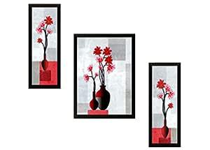 SAF UV Textured Flower Print Framed Painting Set of 3 for Home Decoration – Size 35 x 2 x 50 cm SANFSA62
