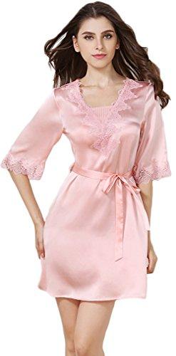 Tulpen Damen Seide Schlafkleider 1/2 Arm 100% Maulbeerseide Schlafanzug Robe Rosa