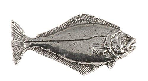 Creative Pewter Designs, Pewter Halibut Small Refrigerator Magnet, Antiqued Finish, S061M