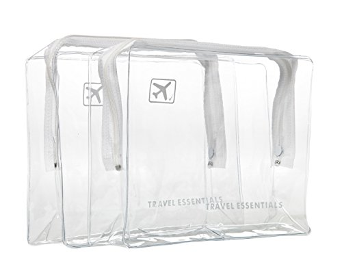 Airport Travel (2 x TRAVEL ZIP BAGs CLEAR AIRPORT TRANSPARANT LIQUID TOILETRIES CABIN HOILDAY POUCH by Travel Essentials)
