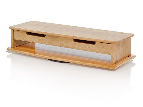 Prosumer 's Choice Bambus Monitor/TV Ständer und Mittelteil mit Dual Schubladen-Lange 76,2cm - Rolling Unterschrank
