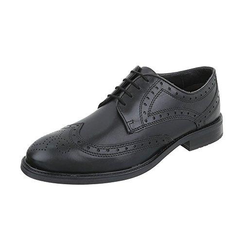 Budapester Stil Leder Herren-Schuhe Oxford Blockabsatz Schnürer Schnürsenkel Ital-Design Business-Schuhe Schwarz, Gr 43, Ms-045R36-