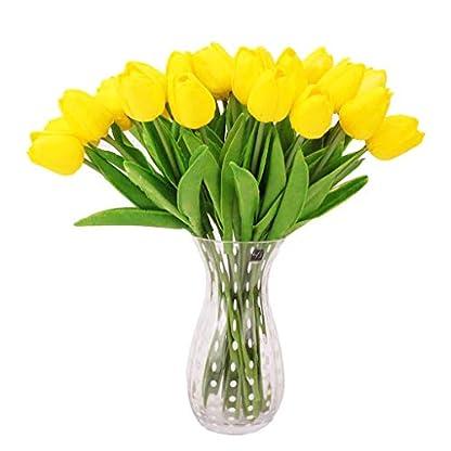 Meiqqm – Juego de 10 Tulipanes Artificiales de Tacto Real para el hogar, Bodas, Fiestas, Bricolaje, decoración, Ramos de Novia, 12 Colores