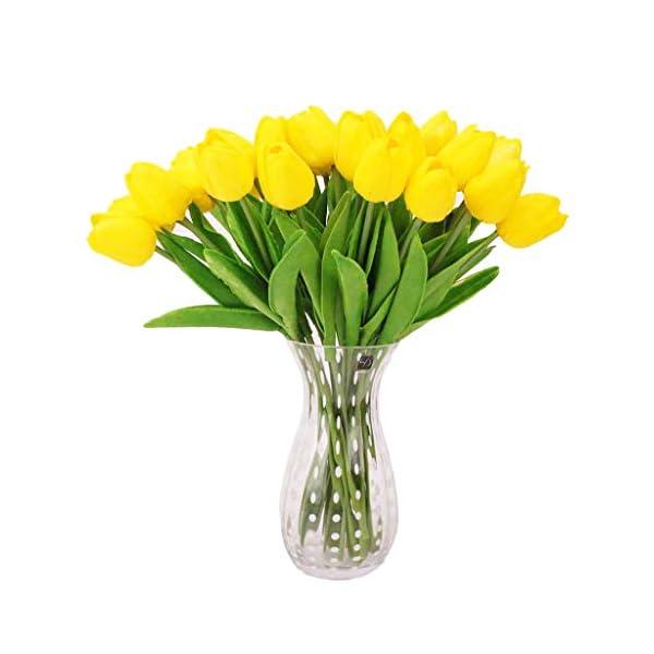 Meiqqm – Juego de 10 Tulipanes Artificiales de Tacto Real para el hogar, Bodas, Fiestas, Bricolaje, decoración, Ramos de Novia, 12 Colores, Amarillo, 34×4.5cm