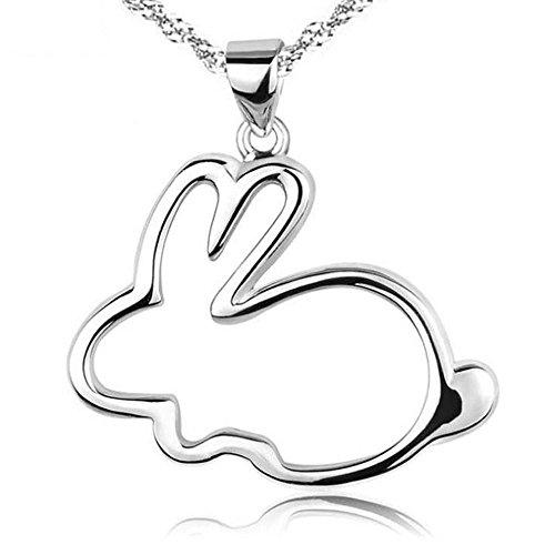 Aoligei Jade Kaninchen Sterling Silber Anhänger Sternzeichen Hase Schlüsselbein Halskette niedlich kleine weißen Kaninchen Anhänger Pullover Kette (Sterling Silber Niedliche Halskette)