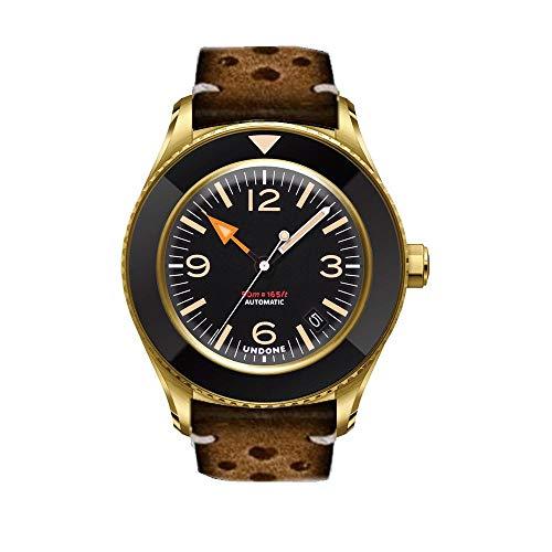 Undone Basecamp Militar Vintage Automático Acero Oro Negro Fecha Piel Marron Hombre Reloj