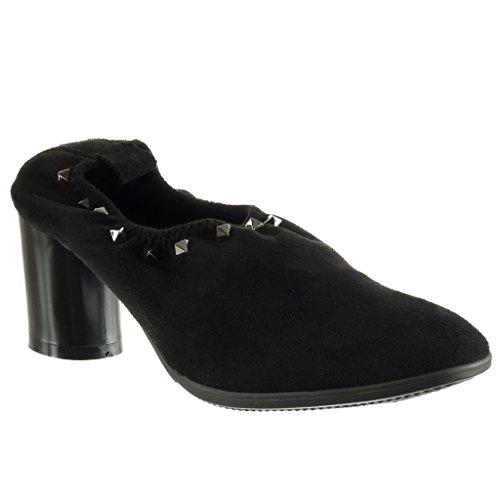 Angkorly - Chaussures Fashion Bottines - Bottines Cloutées Pour Femmes Block Heel 6.5 Cm Talon Haut Noir