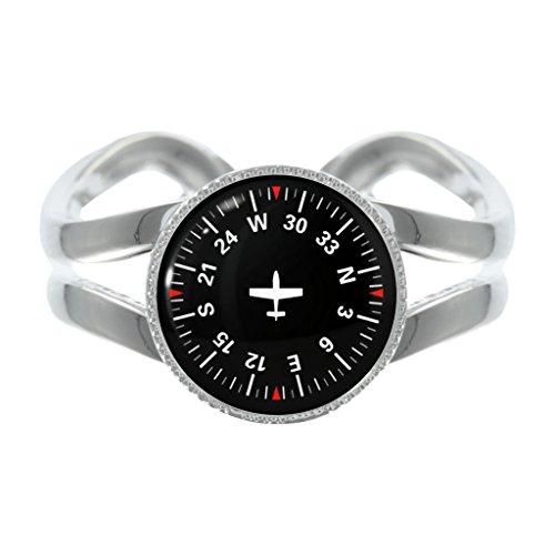 pilot-navigation-compass-design-silver-plated-adjustable-ring