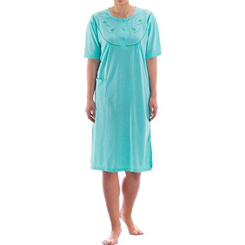 Zeitlos Nachthemd kurzarm einfarbig mit Tasche Mint