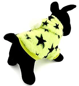Pegasus Manteau d'hiver à capuche pour animal domestique Chiot/petit chien/chat Polaire chaude et douce Motif étoiles
